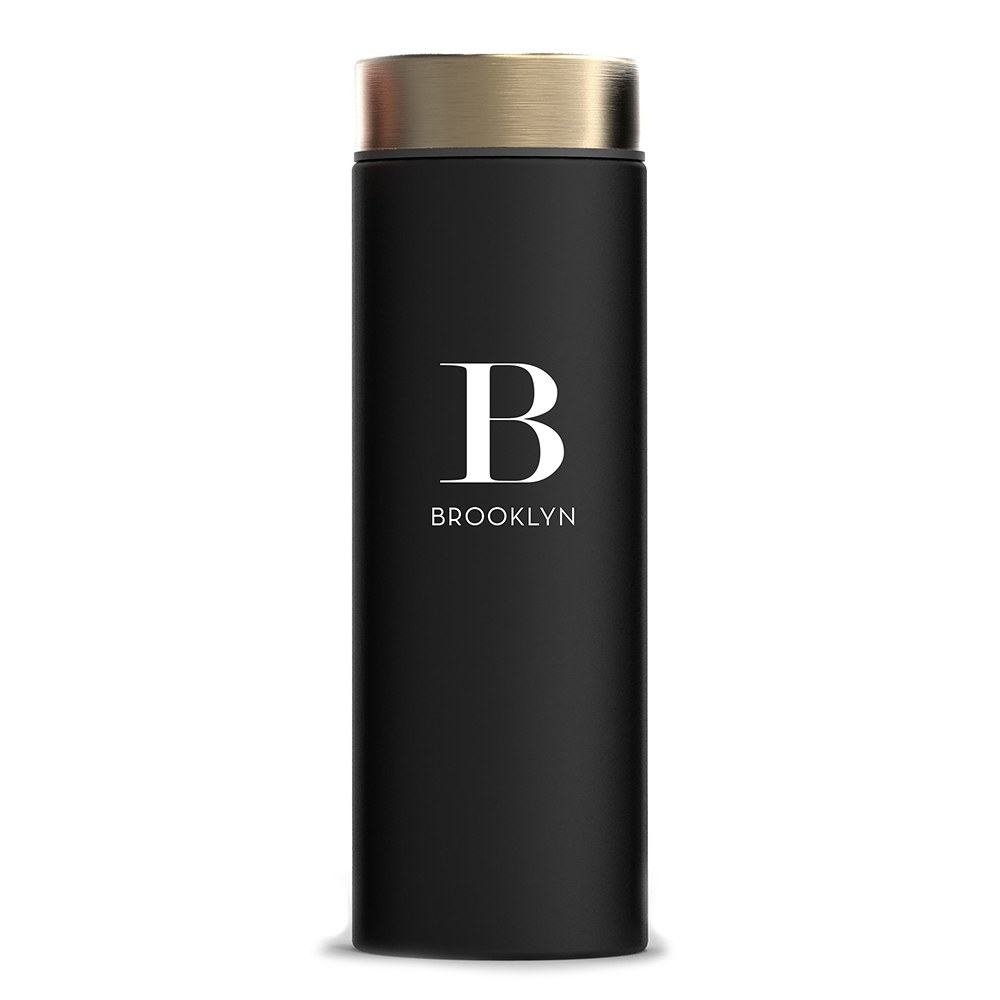 Personalized Black Stainless Steel Travel Bottle – Modern Serif Monogram Print