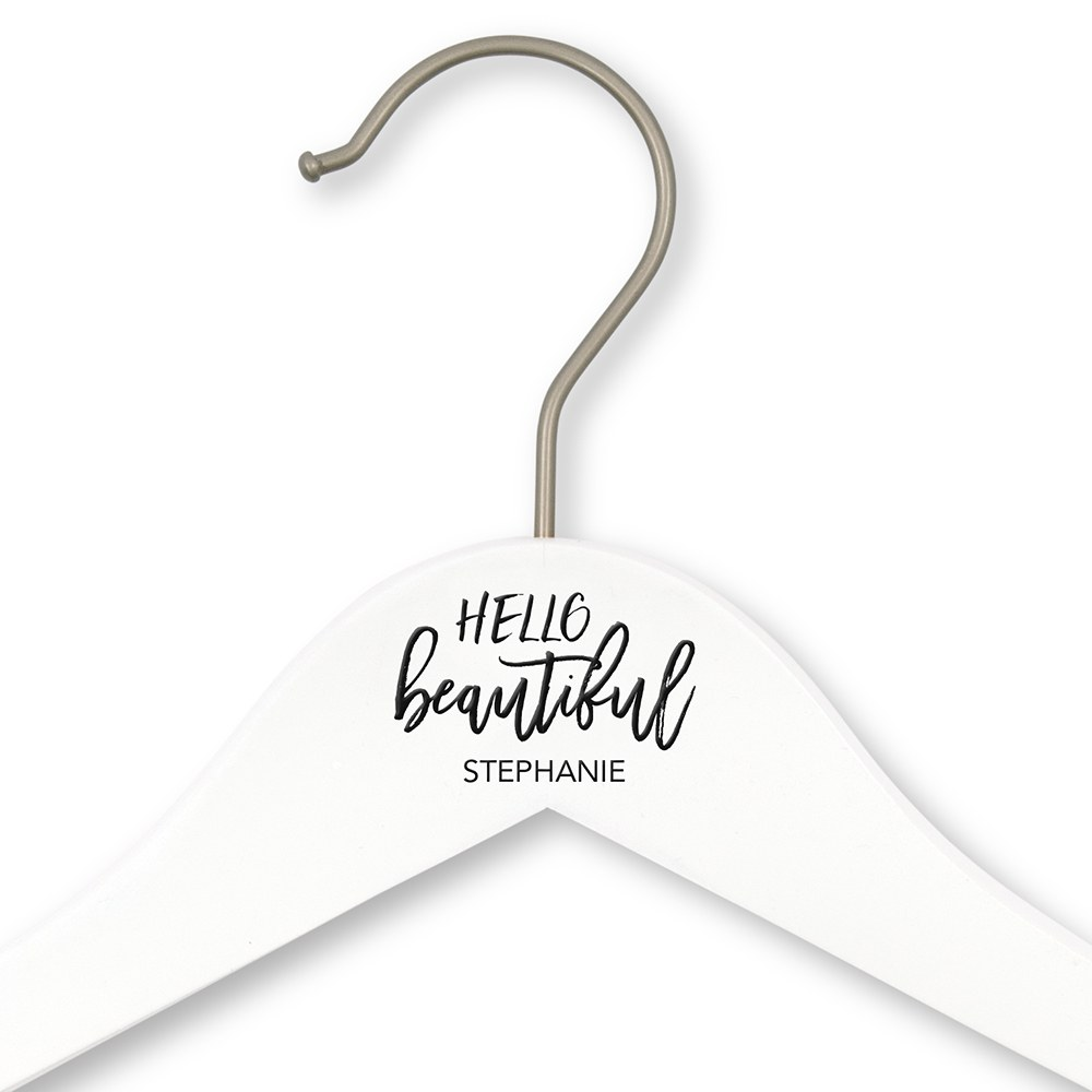 Personalized Wooden Bride and Bridesmaids Hangers - Hello Beautiful