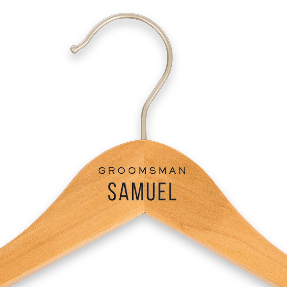 Personalized Wooden Wedding Clothes Hangers - Groomsman Print