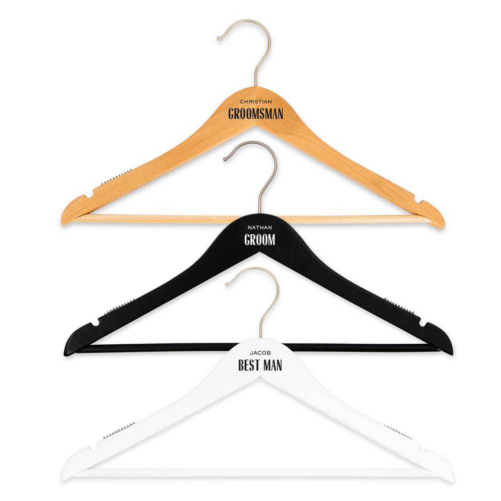 Personalized Wooden Wedding Clothes Hangers - Groom Print