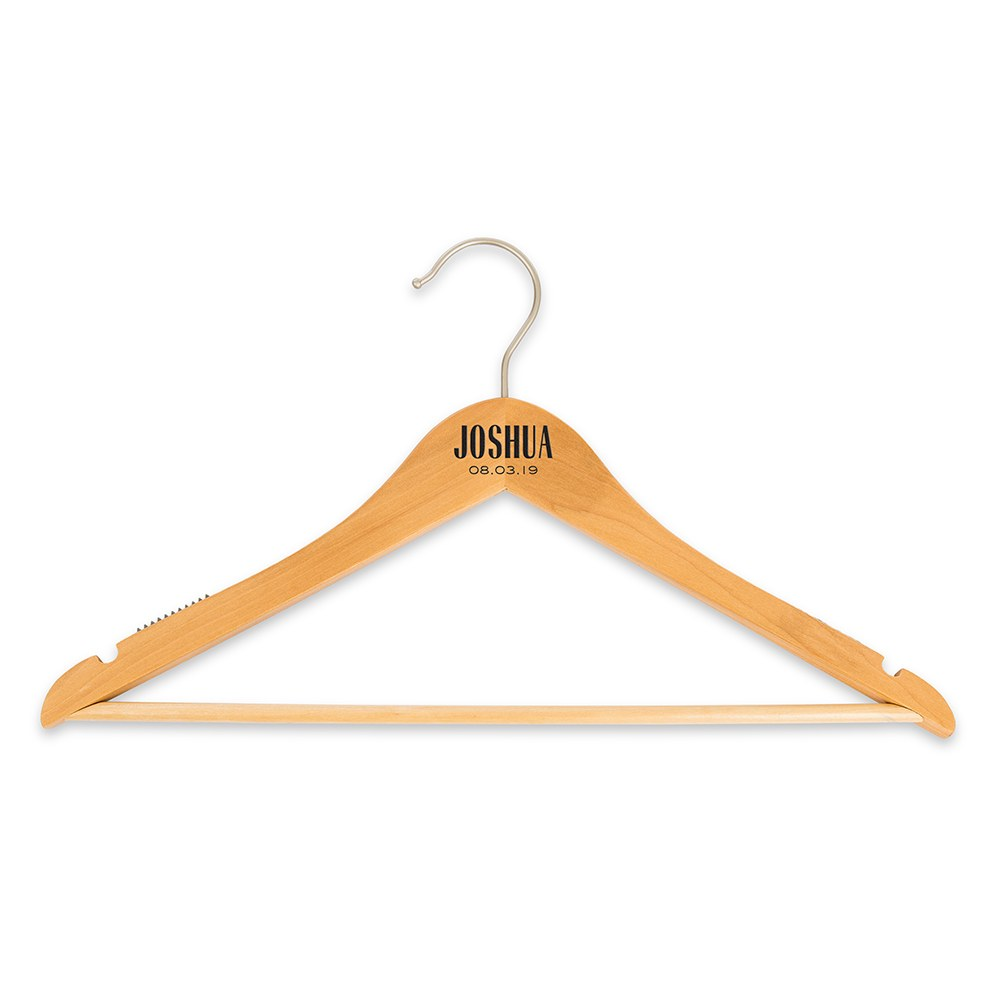Personalized Wooden Wedding Clothes Hangers - Modern Print