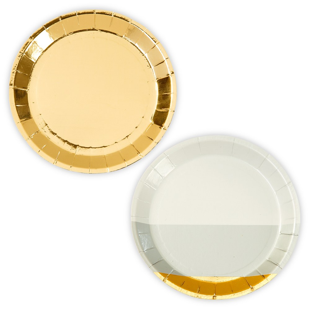 Mini Gold Foil and Grey Appetizer Party Plates