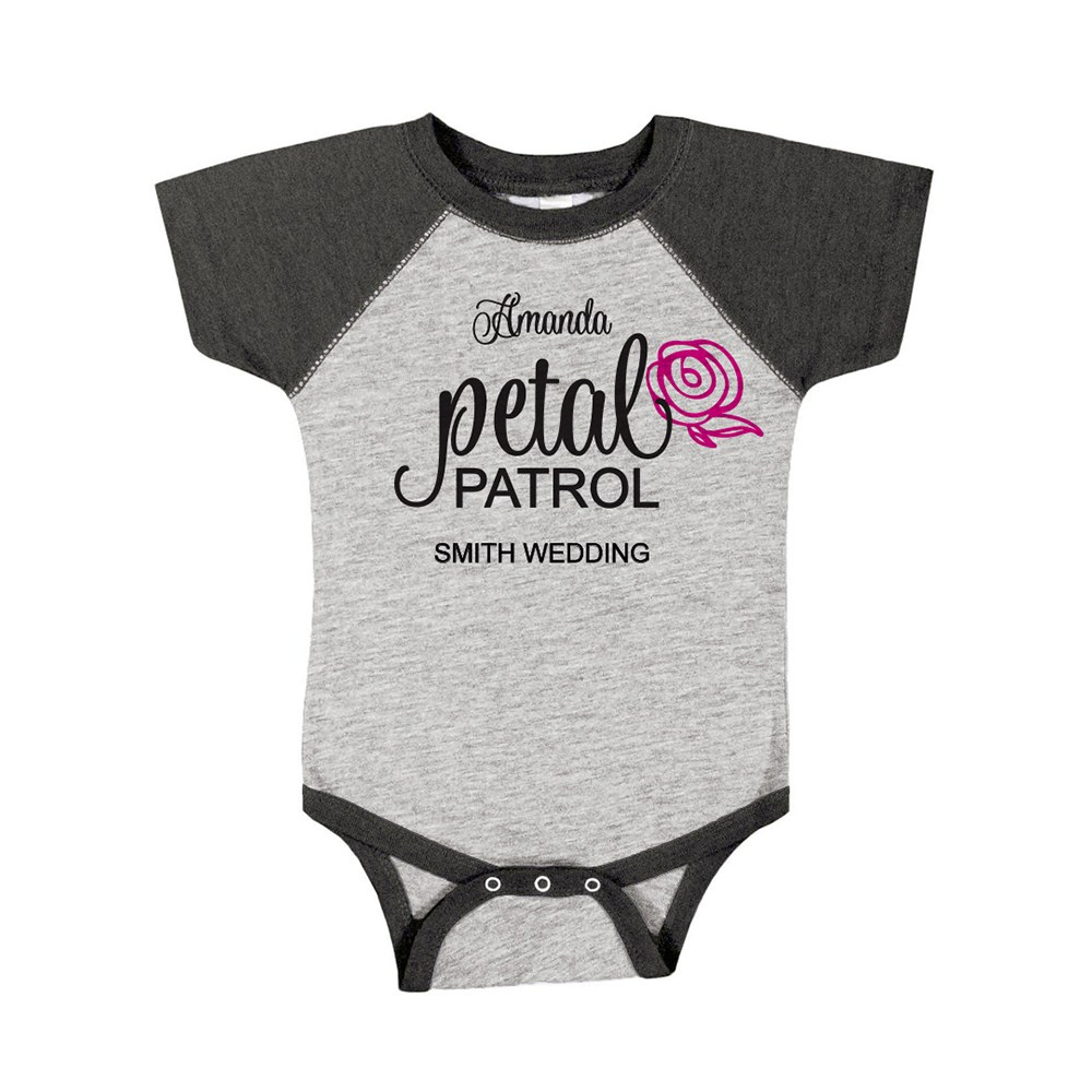 Cute Personalized Black & Gray Baby Bodysuit - Petal Patrol