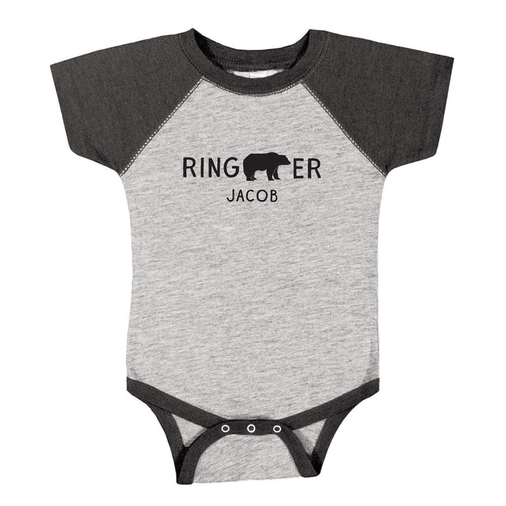 Cute Personalized Black & Gray Baby Bodysuit - Ring Bearer