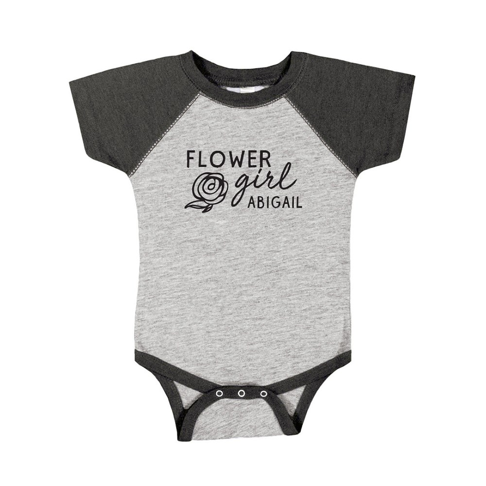 Cute Personalized Black & Gray Baby Bodysuit - Flower Girl