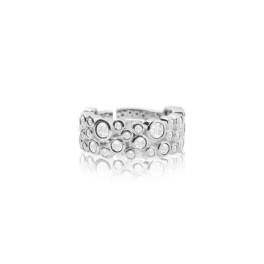 Adjustable Silver Friendship Ring with Crystals