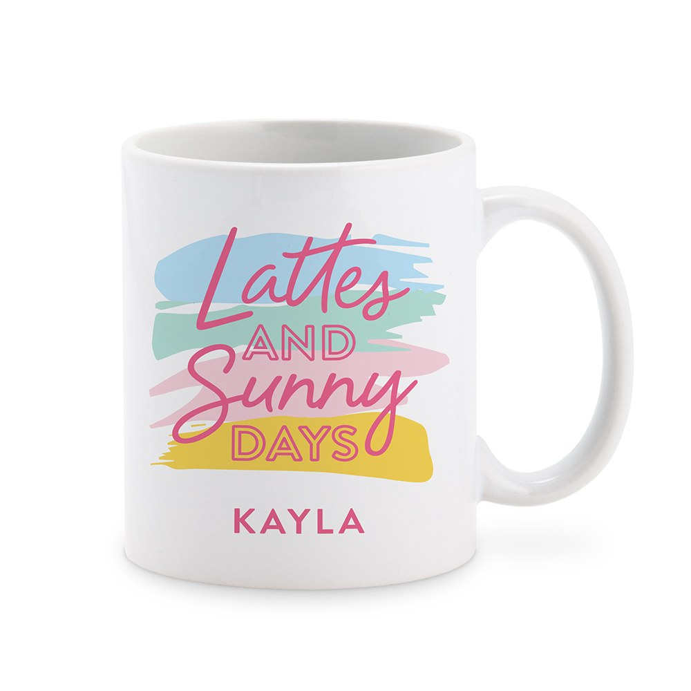 Custom White Ceramic Coffee Mug - Lattes and Sunny Days Print