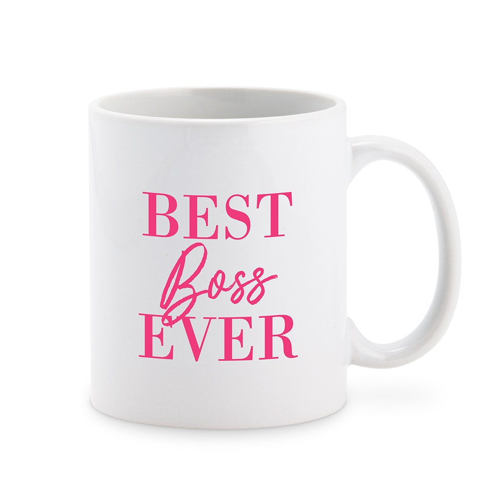 Custom White Ceramic Coffee Mug - Best Boss Ever Feminine Print
