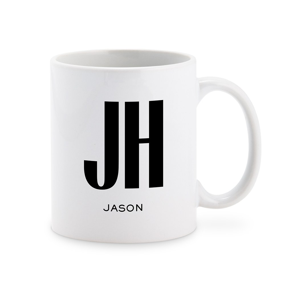 Custom White Ceramic Coffee Mug - Sans Serif Monogram Print