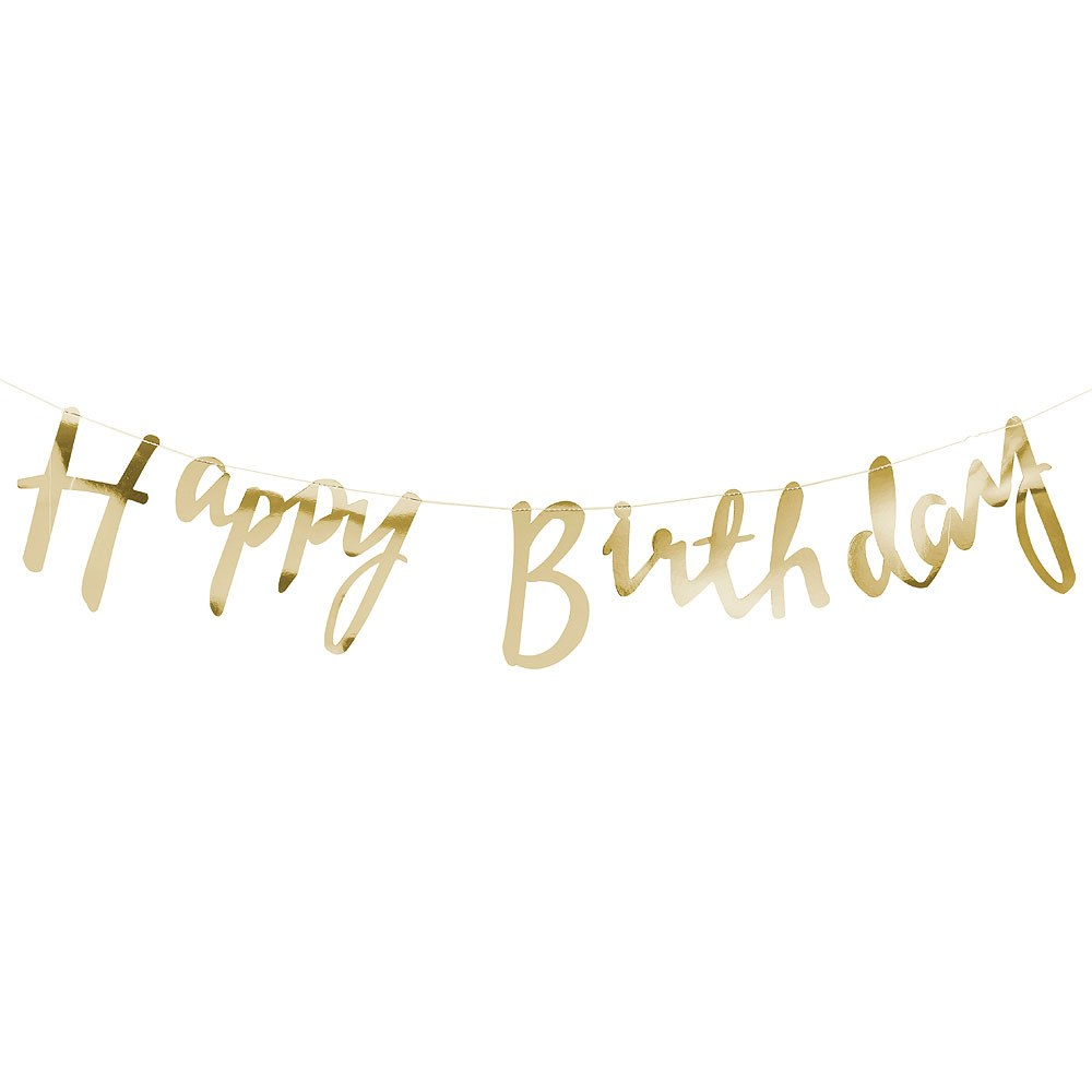 Happy Birthday Banner - Gold Metallic