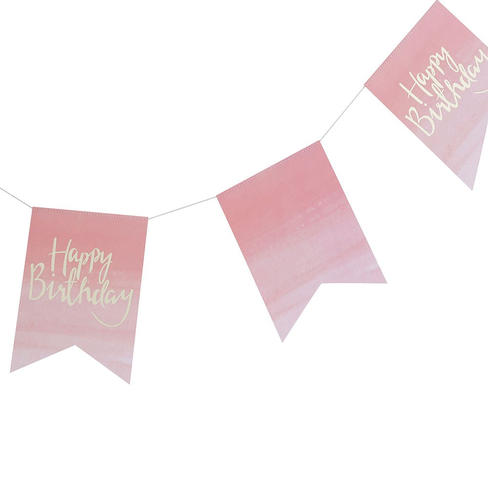 Happy Birthday Banner - Pink Watercolor
