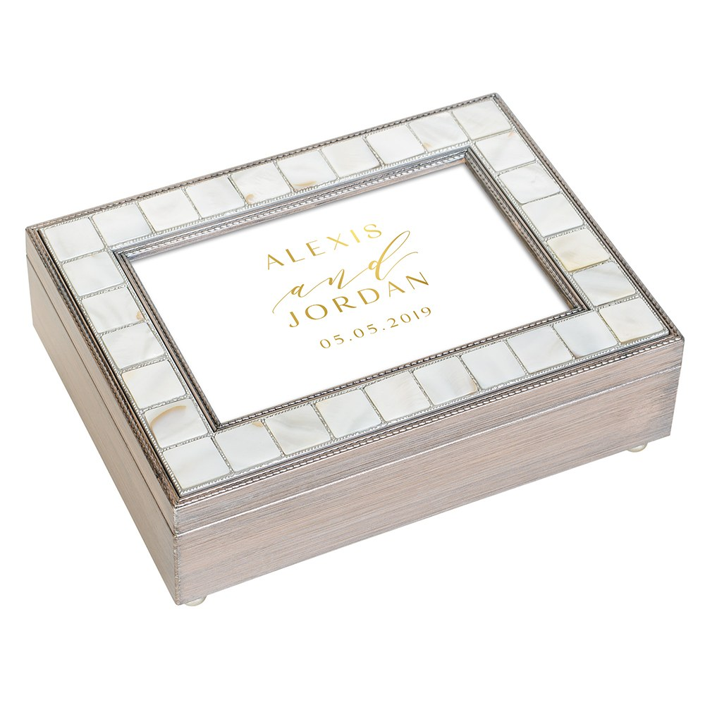 Large Personalized Luxury Pearl Music Box - Gold Modern Couple Foil Print