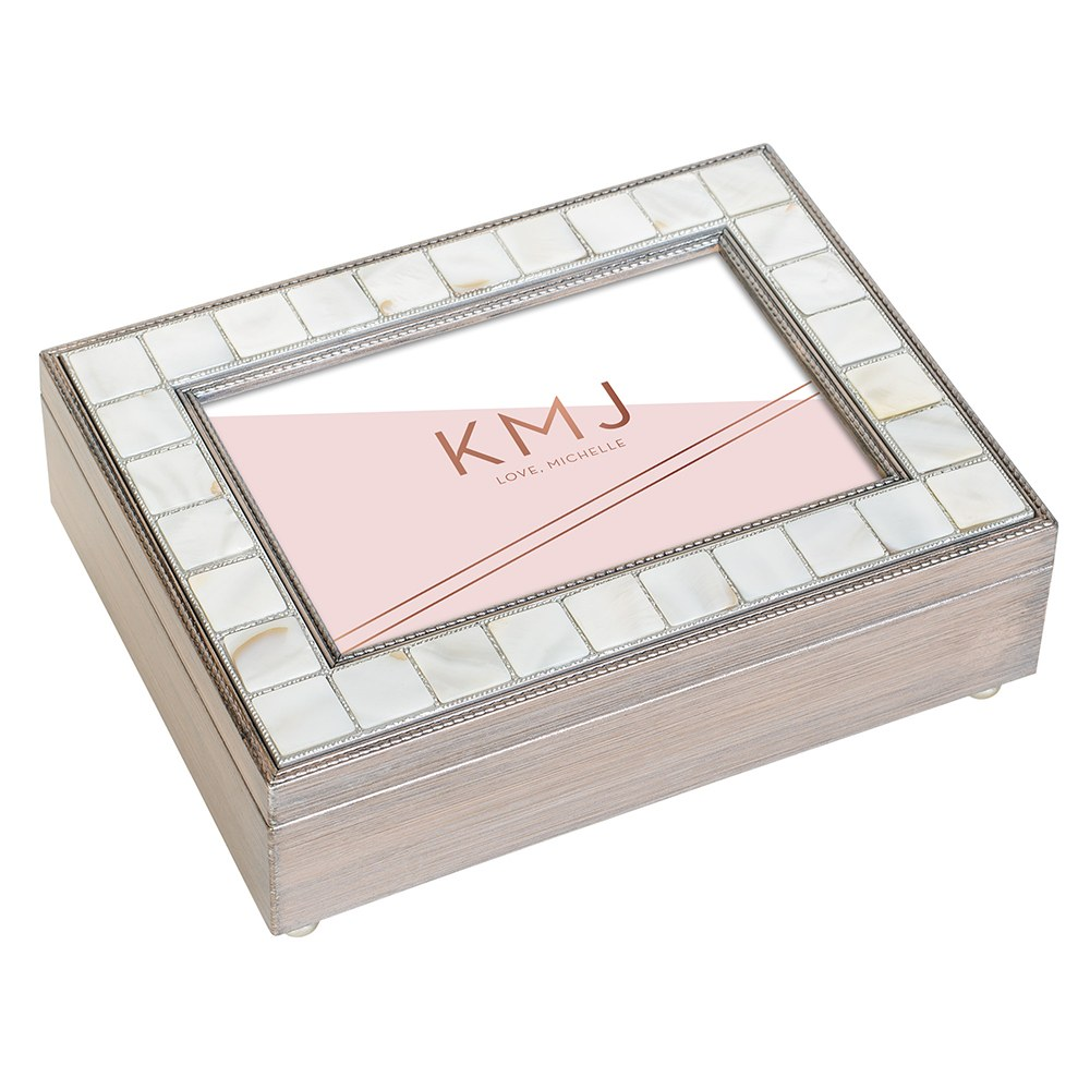 Large Personalized Luxury Pearl Music Box - Rose Pink Retro Luxe Foil Print