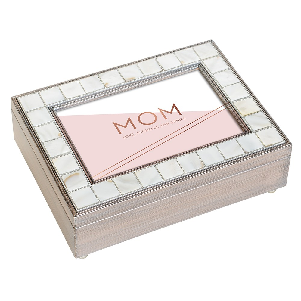 Large Personalized Luxury Pearl Music Box - Rose Pink Mom Foil Print