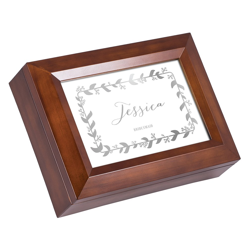 Large Personalized Wooden Music Box - Silver Botanical Wreath Foil Print