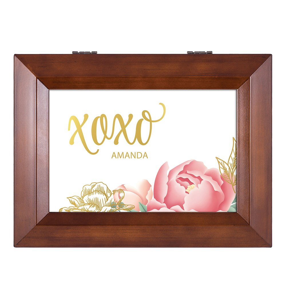 Large Personalized Wooden Music Box - Gold Modern Floral Foil Print