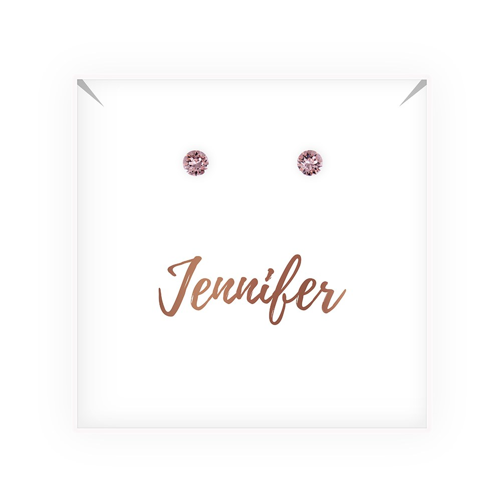 Swarovski Crystal or Pearl Stud Earrings - Cursive