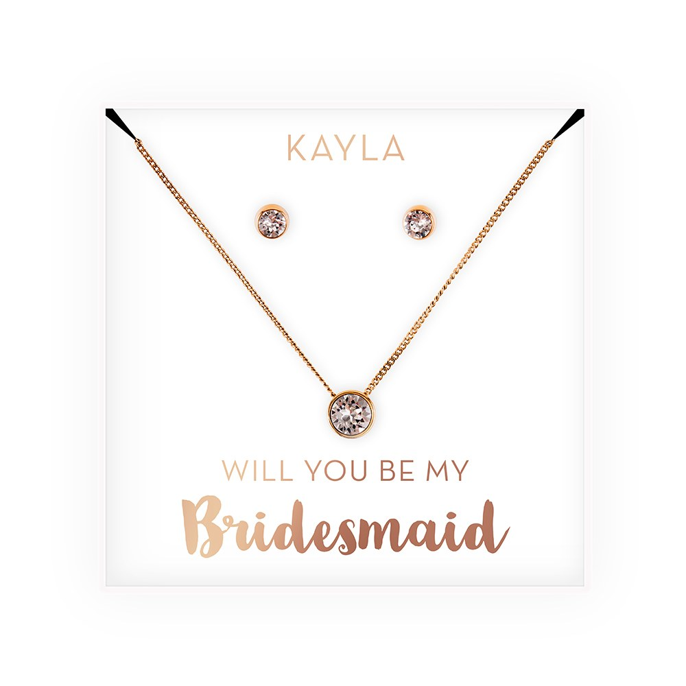 Personalized Bridal Party Crystal JewelryGift Set – Be My Bridesmaid?