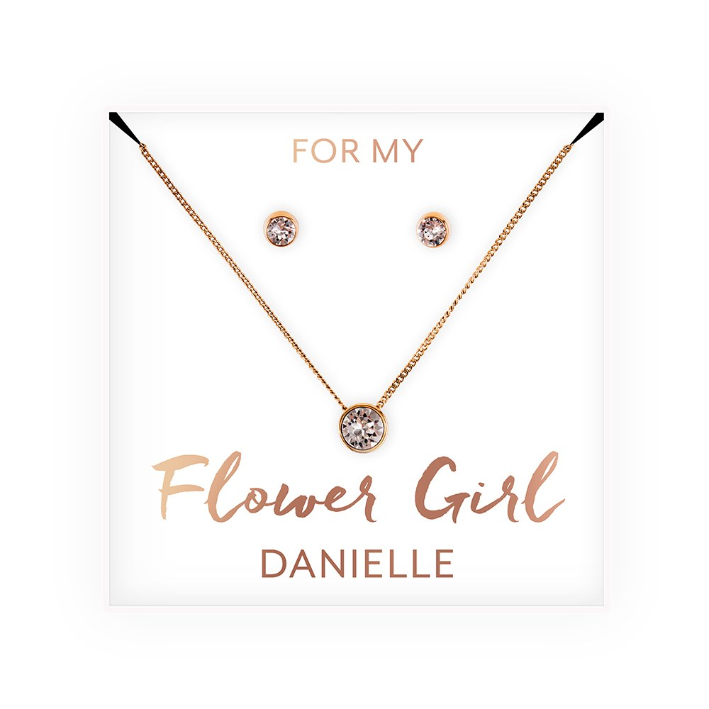 Personalized Bridal Party Crystal Jewelry Gift Set – Flower Girl
