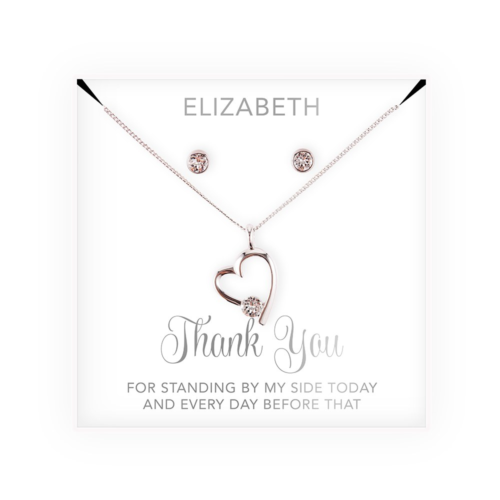 Personalized Bridal Party Heart & Crystal Jewelry Gift Set - Thank You Cursive Font