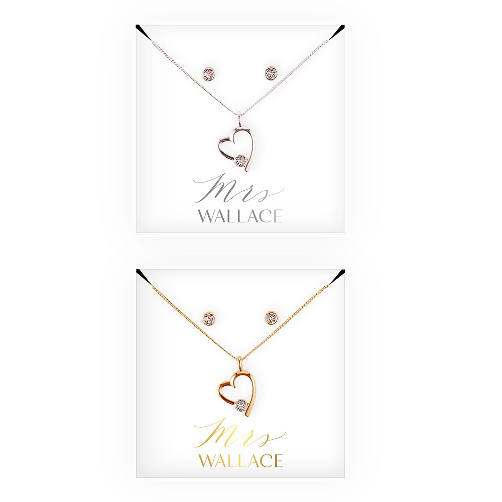 Personalized Bridal Party Heart & Crystal Jewelry Gift Set - Mrs.