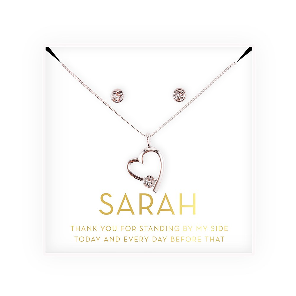 Personalized Bridal Party Heart & CrystalJewelry Gift Set - Thank You