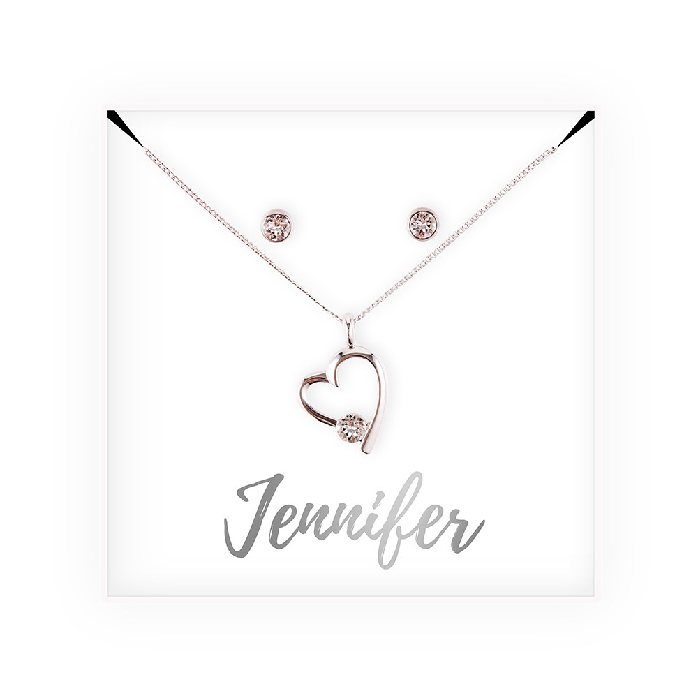 Personalized Bridal Party Heart & Crystal Jewelry Gift Set - Cursive Font