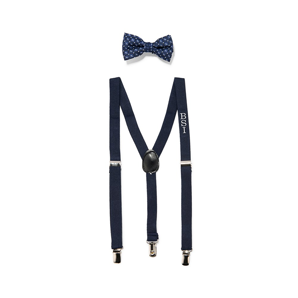 toddler children baby bow tie suspenders wedding outfit attire navy blue