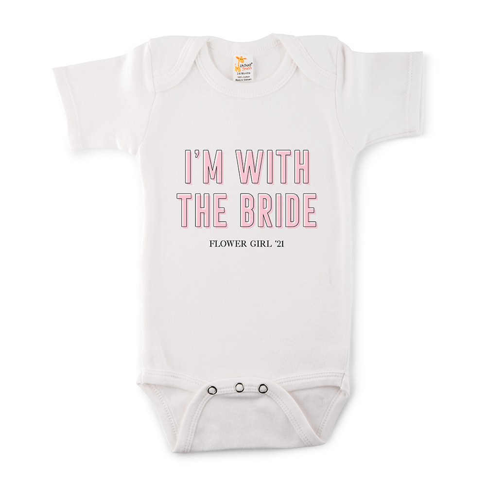 Cute Personalized White Baby Onesie - I'm With the Bride