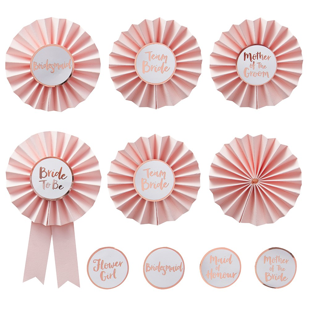 Pink & Rose Gold Bachelorette Badges - Team Bride