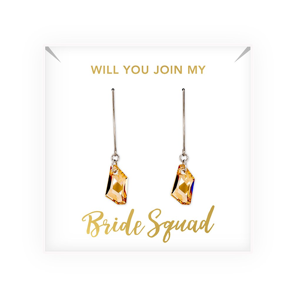 Personalized Swarovski Crystal Wedding Drop Earrings - Bride Squad