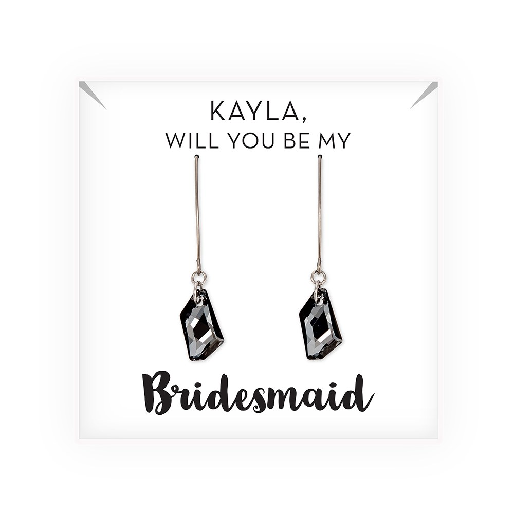 Personalized Swarovski Crystal Wedding Drop Earrings - Be My Bridesmaid?