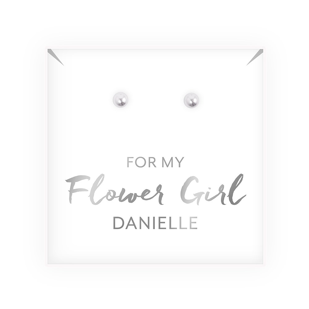 Swarovski Pearl Stud Earrings - Flower Girl