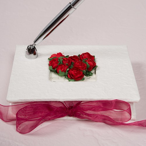 Flower of Love In Romantic Red Mulberry Paper Wrapped Wedding Reception Pen Set