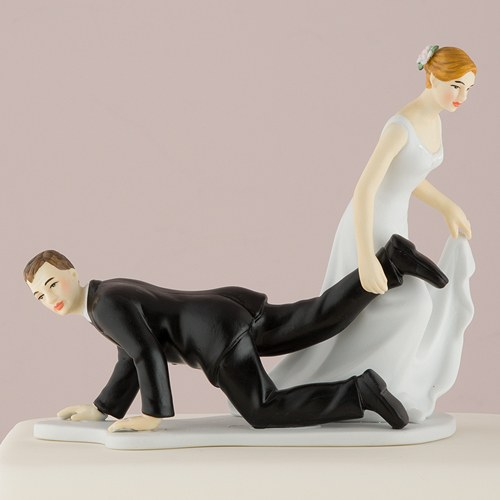 Comical Couple with the Bride Having the Upper Hand Wedding Cake topper