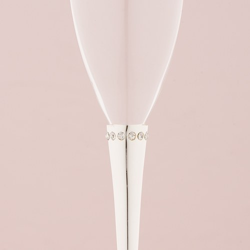 Ring of Crystals Wedding Flutes