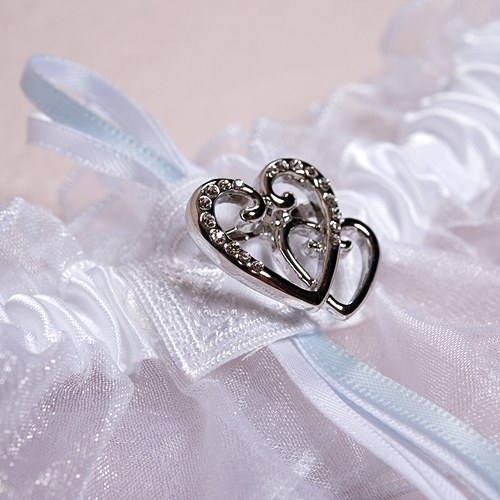 Why Two Garters For Wedding: Double Heart Wedding Garter Set