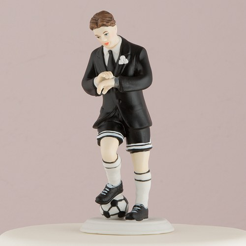 Soccer Player Wedding Cake Toppers