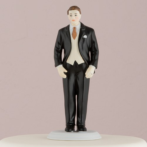 Fashionable Groom In Black Tux Cake Topper