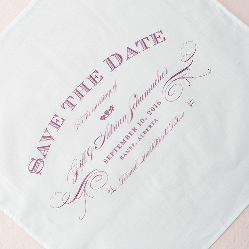 Elegant Type Save The Date Personalized Wedding Handkerchief