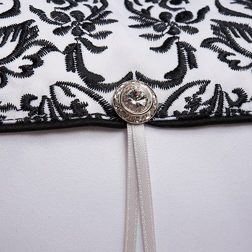 Love Bird Damask in Classic Black and White Ring Pillow