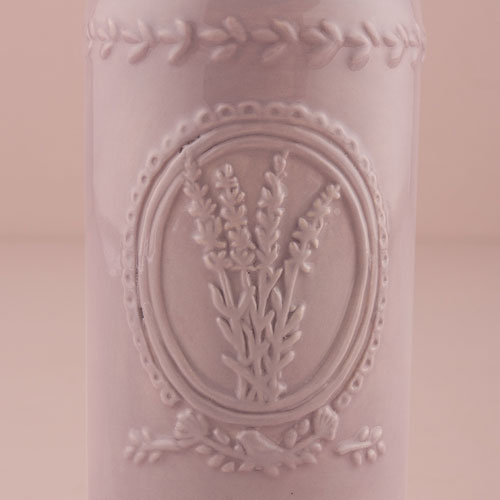 Vintage Inspired Ceramic Bottle with Lavender Motif - Small