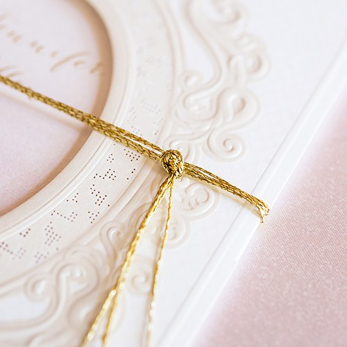 Embossed Pearls and Lace  with Aqueous Personalization   Invitation