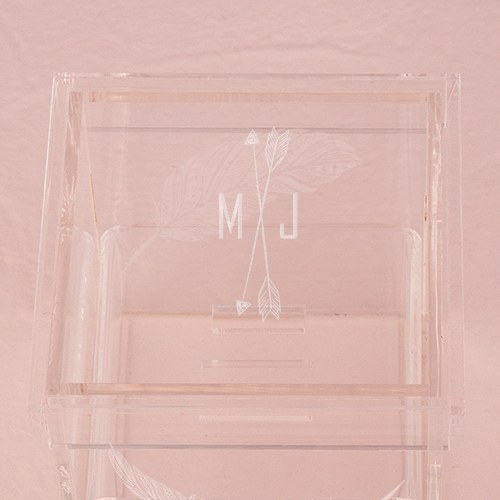 Small Personalized Clear Acrylic Ring Box- Whimsical Feather Engraving