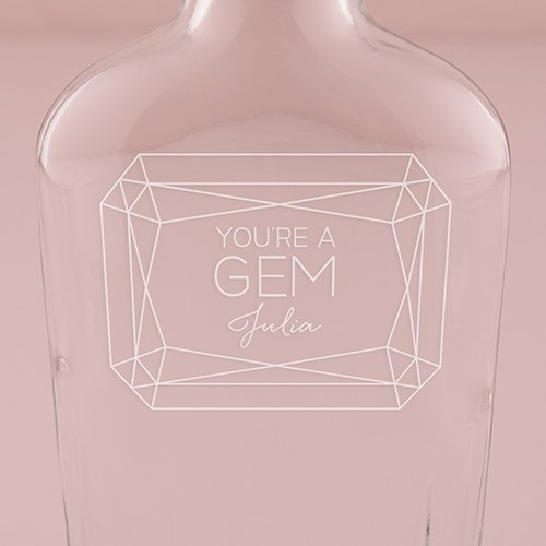 Vintage Inspired Clear Glass Flask   You're A Gem Etching