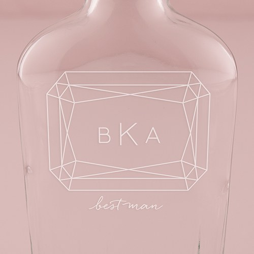 Personalized Clear Glass Hip Flask – Monogram Gem Engraving