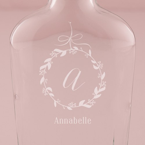 Personalized Clear Glass Hip Flask – Monogram Botanical Wreath Engraving