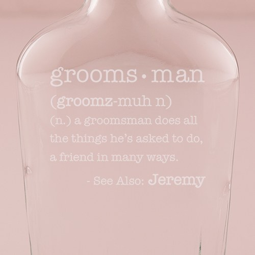 Personalized Clear Glass Hip Flask – Definition of Best Man or Groomsman Engraving