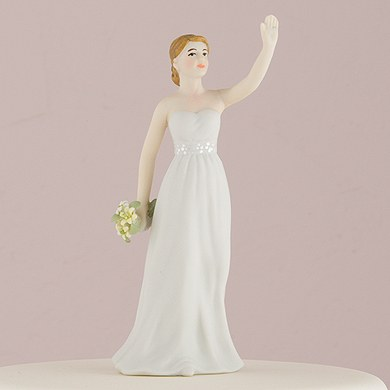 Brunette High Five Wedding Cake Toppers