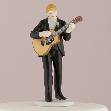 Groom Playing Guitar Cake Topper